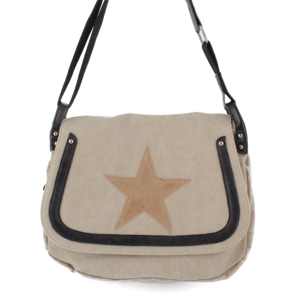Damen Leder Hand Schulter Umhänge Tasche Canvas Shopper Star * Stern Vintage NEU