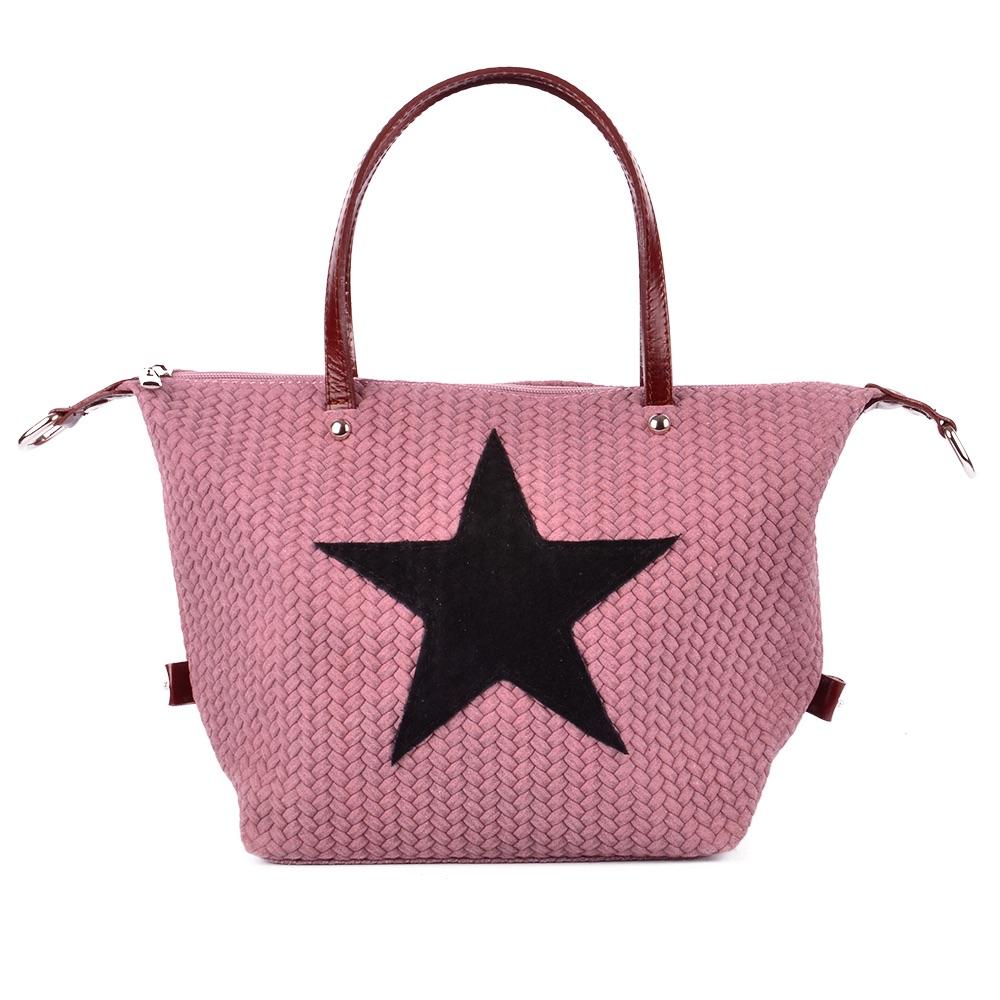 Tasche Handtasche Echt Leder Schultertasche Umhängetasche Geflochten Stern Star