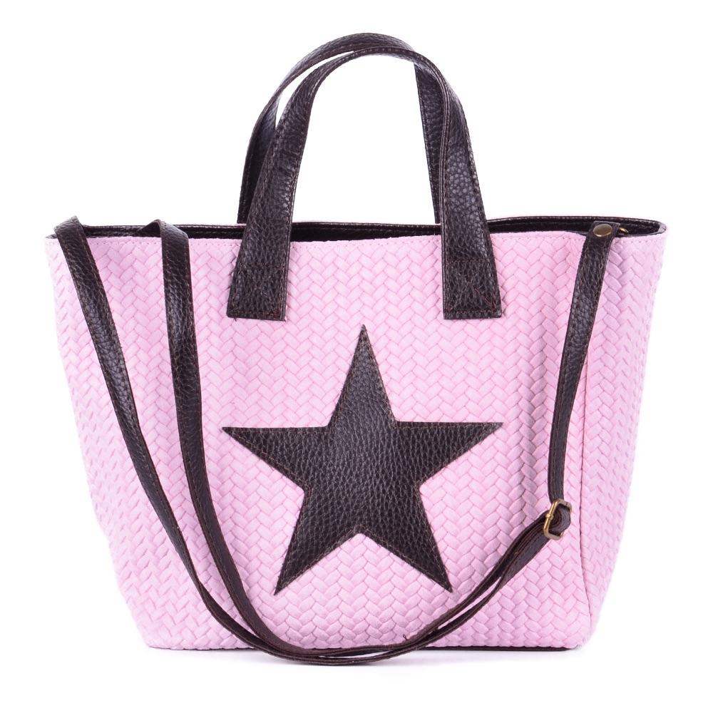 Tasche Handtasche Ital. Echt Leder Schultertasche Umhängetasche Geflochten Stern