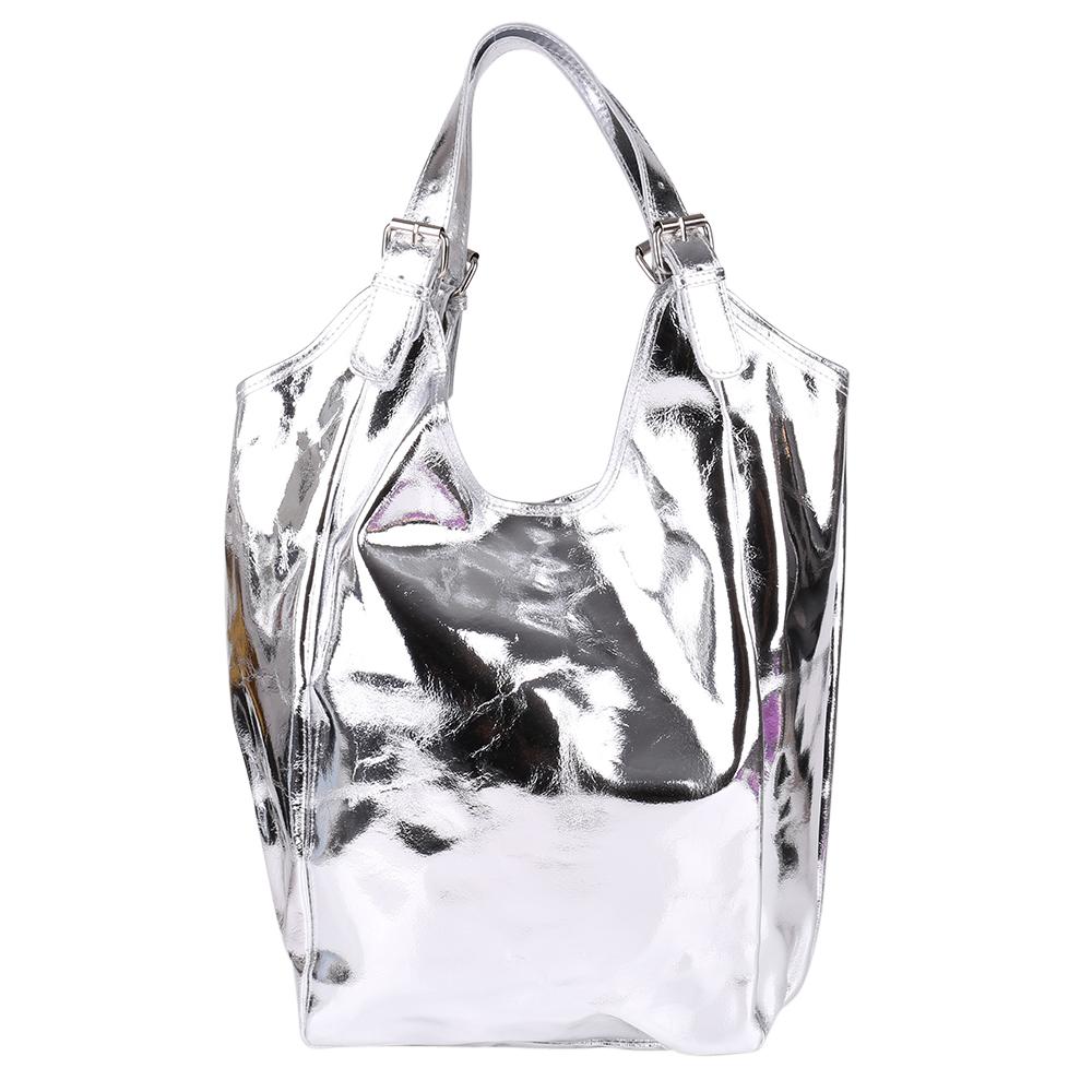 Made in Italy Schultertasche Shopper Taschensack Silber mettalic echt Leder 038S