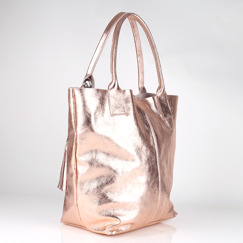 64ca99bb9feee Metallic Quasten Kette Schulter Tasche Ital Leder Rose Gold Shopper ...