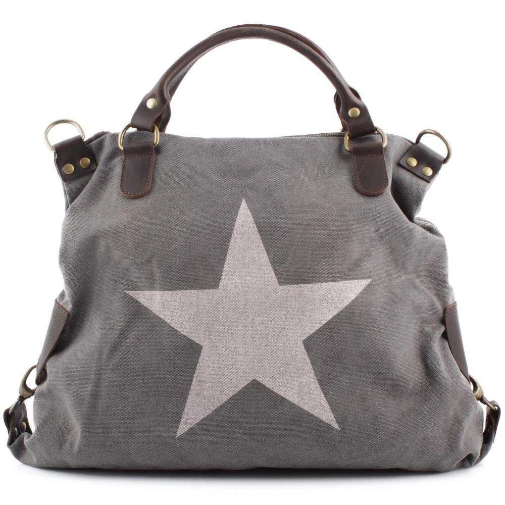 faa6221078bb3 STAR Stern Tasche Henkel Umhänge Italy Echt Leder Canvas Shopper Vera Pelle  NEU