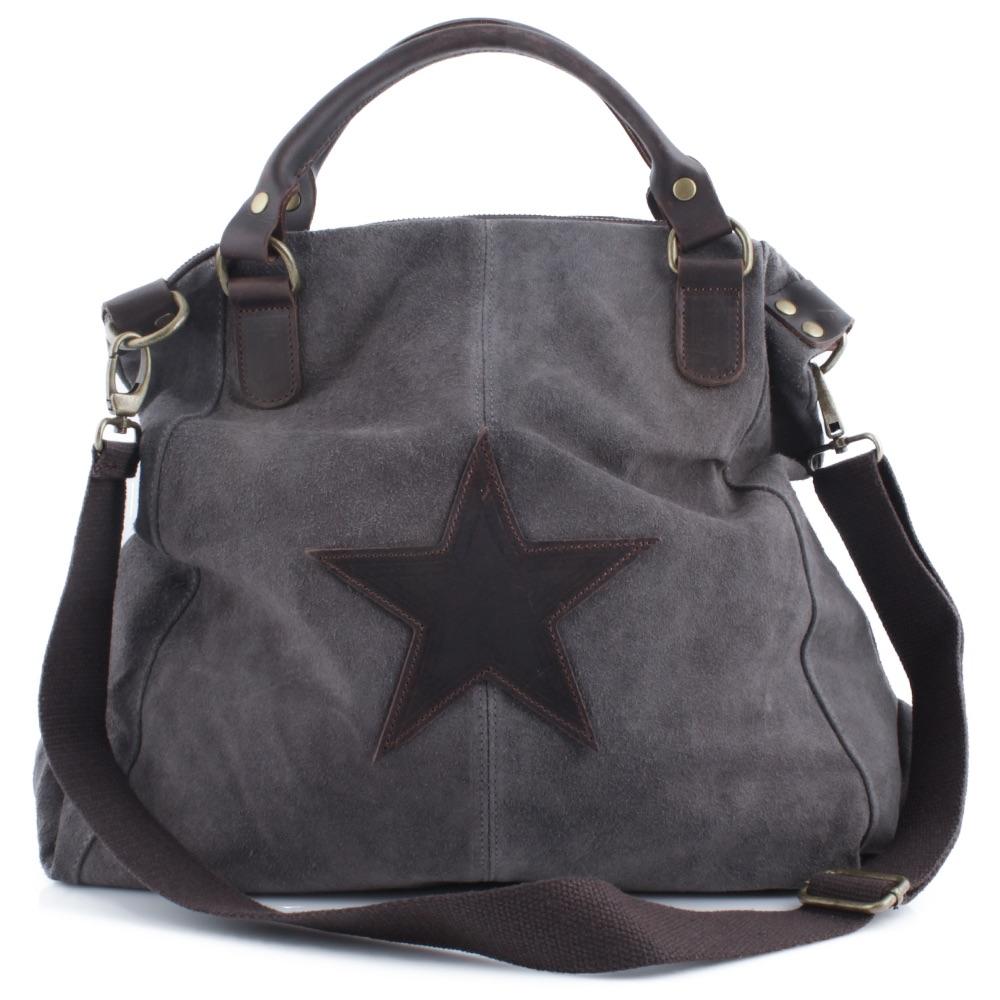 STAR Stern Tasche Hand Henkel Umhänge Wildleder Leder Shopper Ital Vera Pelle
