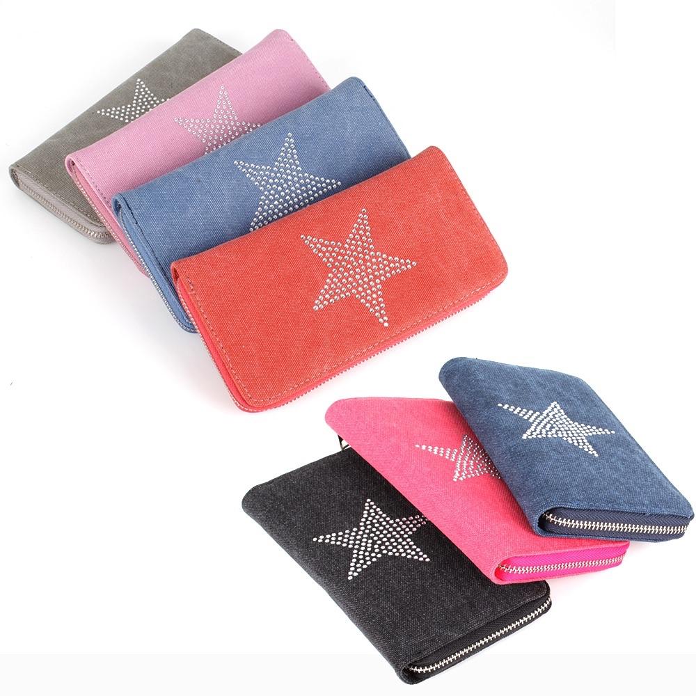 Stern Star Geldbörse Portemonnaie Jeans Stoff Geldbeutel Geld Tasche Clutch NEU*