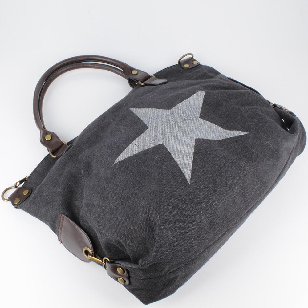 tasche xxl hand schulter vintage shopper star stern canvas denim jeans stoff neu ebay. Black Bedroom Furniture Sets. Home Design Ideas