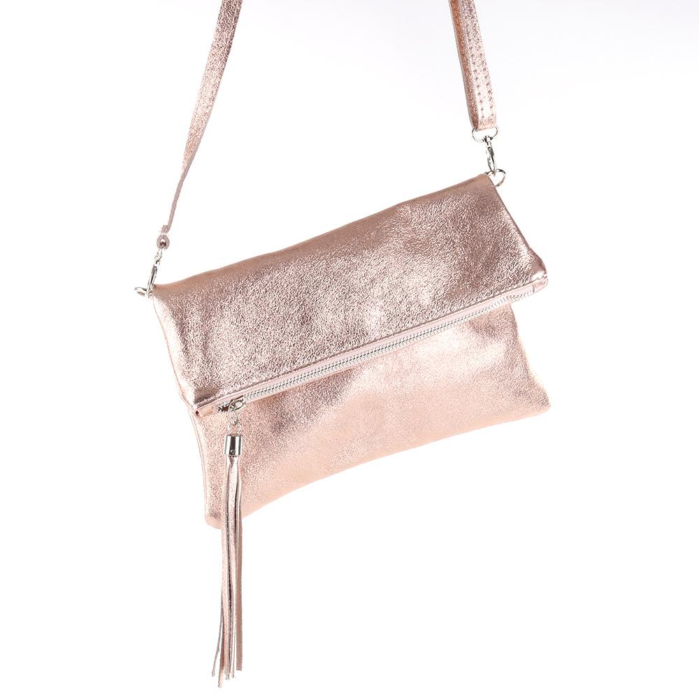 Metallic Cross Bag Umschlag Clutch Tasche Lack Leder Schwarz Quasten Fransen