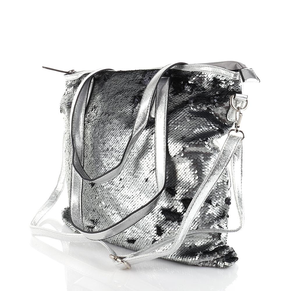 a4f657ca51b7c Schulter Tasche Pailletten Glitzer Kunstleder Shopper Metallic ...