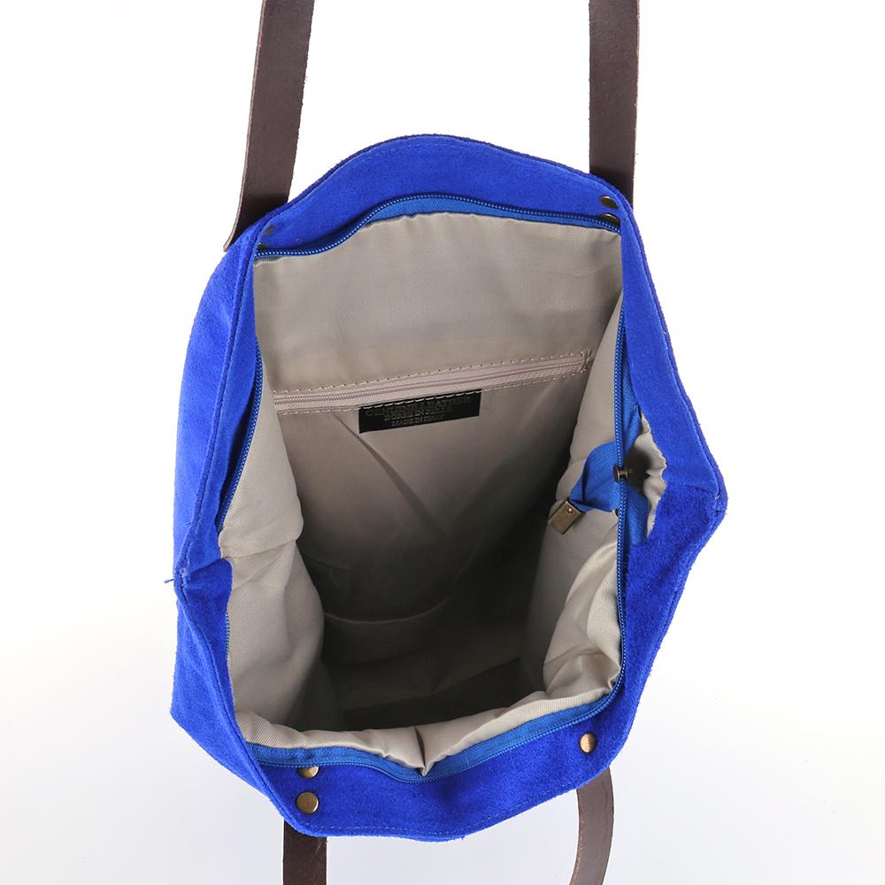 Shopper Schulter Hand Tasche Italy Leder Wildleder Borse Pelle A4 Stern NEU blau